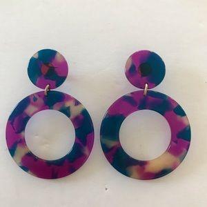 NWT J CREW Circle & Hoop Tortoise Earrings